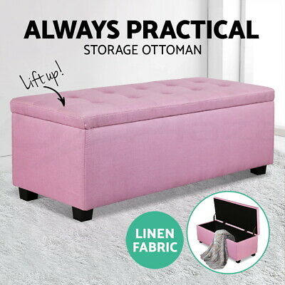 Artiss Blanket Box Ottoman Storage Linen Fabric Foot Stool Chest Toy Bed Pink