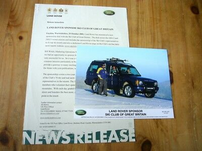 Land Rover Discovery II Ski Club GB press release & photo, 2001, excellent order