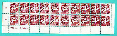 Lithuania Block Of 20 Stamps 5 Ct1940 Mnh 823