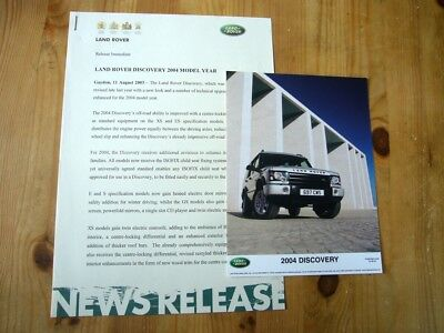 Land Rover Discovery II for 2004 press release & photo, 2003, excellent
