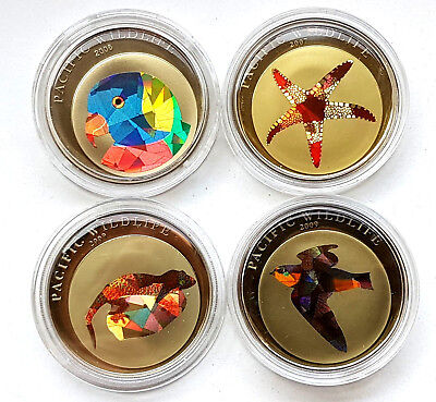 1 Dollar Palau 2006 - 2009  Pacific Wildlife Papagei , Seestern , Echse usw.Top!