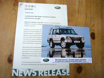 Land Rover Discovery II manufacturing award press release & photo, 2002, superb
