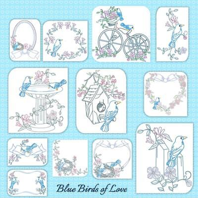 Blue Birds Of Love 12 Machine Embroidery Designs Cd Includes 3 Sizes