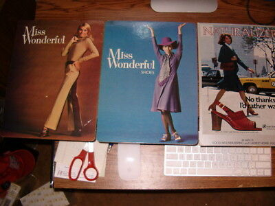 3 Naturalizer Brown Shoes Company & Miss Wonderful Cardboard Advertising Signs