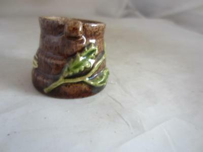 C1920 Brown Miniature Rye Pottery Leaf Design