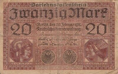 Germany 20 Mark Reichs Banknote 1918 Imperial Empire Wwi Currency