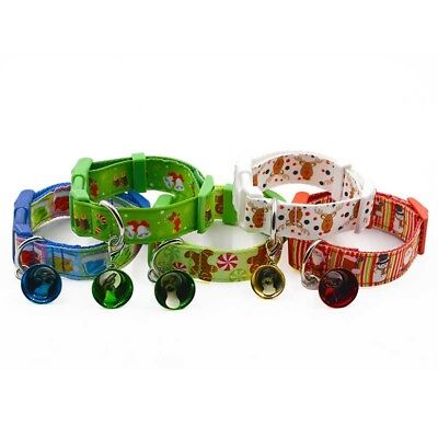 Christmas Pet Dog Cat Collar Adjustable Xmas Style Collars with Small Bell Gift
