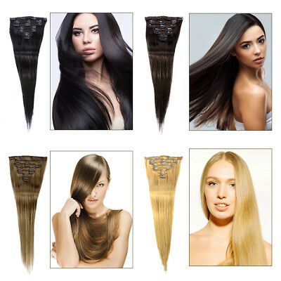 8pcs Hair Extensions Women A Full Head Clip In Ladies Long Real Human Hairpiece