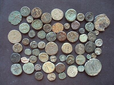 Ancient Greek Lot Of 60 Greek Bronze Coins To Identify Excellent Lot(771)