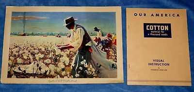 """ Our America : Cotton "" Poster And Book, Coca Cola (1943) Educational Series"