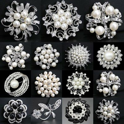 Silver Tone Pearl Flowers Diamante Crystal Brooch Pin DIY Wedding Bridal Bouquet