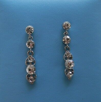Handmade Dangle Earrings with Clear Crystals Earrings E3118