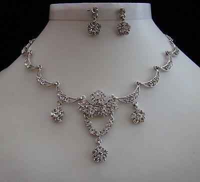 Necklace & Earrings Set, Clear Australia Crystals Wedding Jewelry N3020