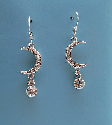 Moon Dangle Earring  Clear Crystal Rhinestone Fashion Jewelry E1270