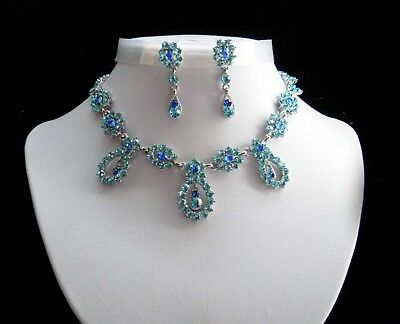 Stunning Party Necklace & Earrings with Aquamarine Australia Crystals N3104