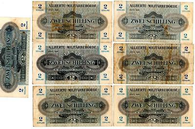 Lot Of 7 Austria Allied Military Currency Two Schilling Notes 1944 Wwii Vintage