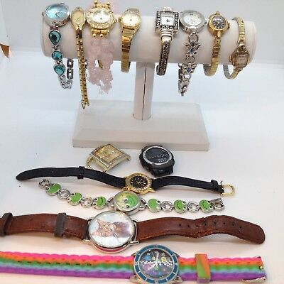 Lot of 14 VINTAGE to CURRENT WRIST WATCH Jewelry Lot Mixed Materials AS IS