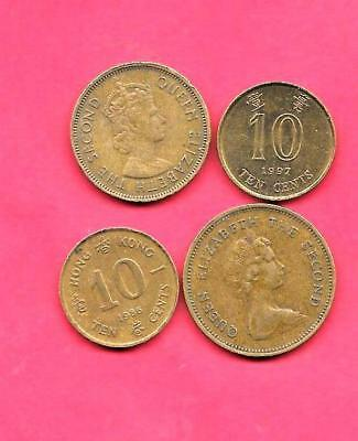 Hong Kong 4 Diff Different 1964-1997 Used Coin Lot Collection Set Group W Old