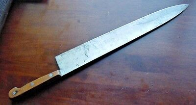 """Old 14"""" Carbon Steel Chef Knife Vintage Thin Excellent Full Blade Wood Handles"""