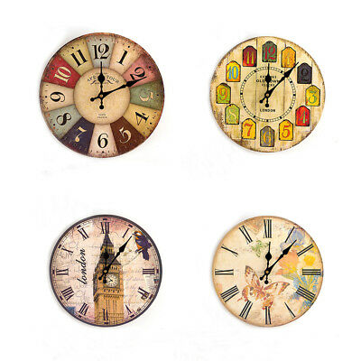 Vintage Rustic Wooden Round Wall Clock Home Room Antique Shabby Chic Retro Decor