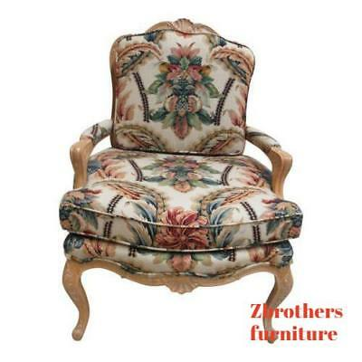 Vintage Country French Carved Club Lounge Fireside Living Room Chair