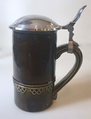 Antique Germany Gerz Stein Pewter Lid Greenish Brown Glaze