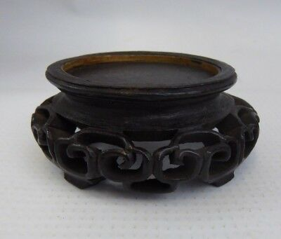 Chinese Antique Fine Carved Wood Stand Pierced Design - For Vase or Figure Qing