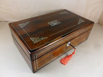 ANTIQUE WILLIAM IV ROSEWOOD WRITING SLOPE WITH M.O.P INLAY.C1835 (Code 485)