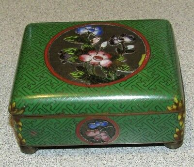 Chinese Vintage Antique Cloisonne Enamel Box w/ Hinged Lid Green Floral Footed