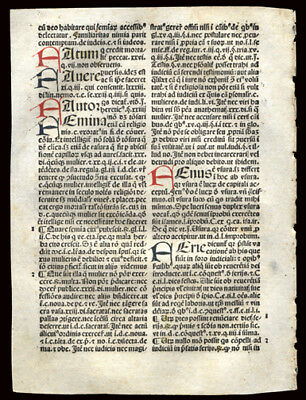 1492 Incunable Leaf Summa Angelica Moral Theology 8 Hand-Colored Letters