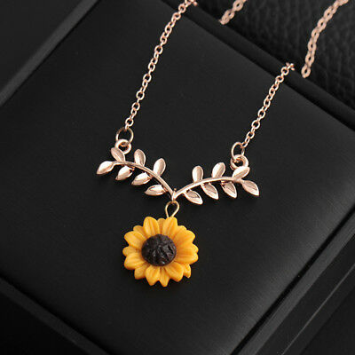 Women Sunflower Leaf Branch Pendant Clavicle Necklace Jewelry Birthday Gift US