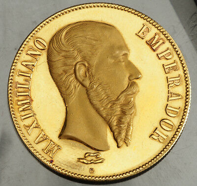 1866, Mexico, Maximilian I. Large Proof-like Gold Medal by Angel Barón. 18.47gm!