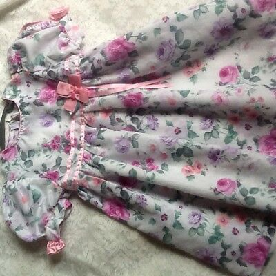 Vintage Toddler Girls Pink Floral  Smock Dress Size 4T