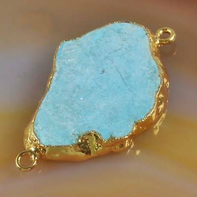 Blue Howlite Turquoise Connector Gold Plated H122560