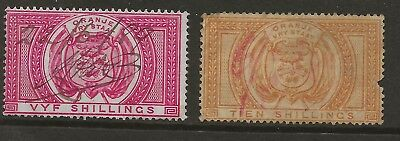 Orange Free State  Sg F9 & F12 Fiscal Stamps  F9 With M/s Cancel
