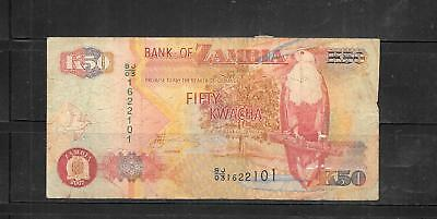 ZAMBIA #37f 2007 VG USED  50 KWACHA BANKNOTE PAPER MONEY CURRENCY BILL NOTE
