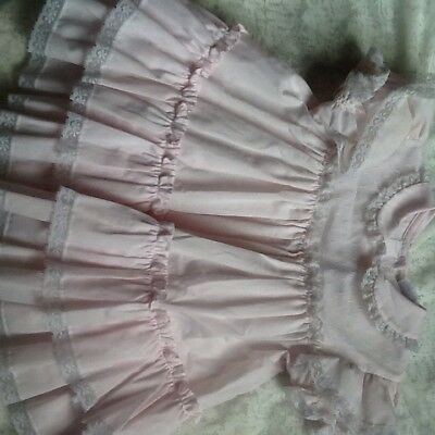 Vintage Baby Girls Bryan Pink White Lace Ruffle Dress 12 -18 Months