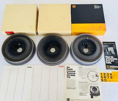 Lot 3 Vintage Kodak Carousel Transvue 80 140 Rotary Slide Trays in Boxes - MINT