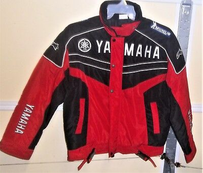 Vintage Yamaha Racing Insulated Jacket Michelin Tire Patch  Mens Large Red Black