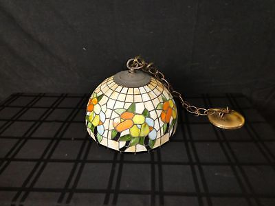 Vintage Tiffany-Style Stained Glass Hanging Lamp (390)