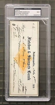 President Benjamin Harrison Signed 1881 Check PSA/DNA Autographed 7 NM AUTO