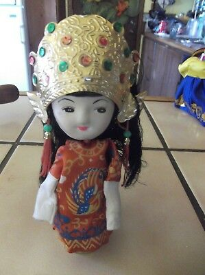 Vintage Japanese Cloth Doll Giesha Oriental with Metal Head Decoration