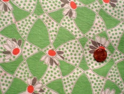 FLORAL Vtg FEEDSACK Quilt Sewing Doll Clothes Craft Cotton Fabric Green Orange