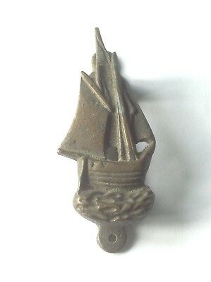 Small Vintage metal (probably brass) Door Knocker - Sailing Boat / Yacht