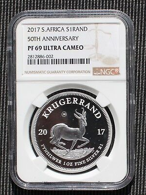 2017 South Africa 50TH Anniversary Proof Silver Krugerrand NGC PF 69 Ultra Cameo
