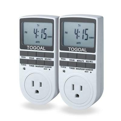 Smart Digital Light Timer with 3-Prong Outlet 7-day Programmable Plug-in Switch