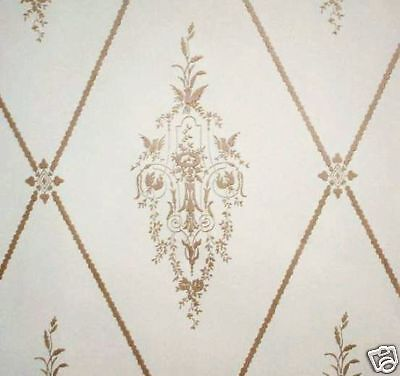 14sr Gold+Cream Museum Quality Neoclassical c1780 Repro Wallpaper Birds Floral