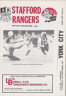 Football Programme>STAFFORD RANGERS v YORK CITY Nov 1981 FAC