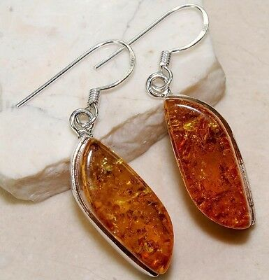 Authentic Baltic Amber 925 Solid Genuine Sterling Silver Earrings Jewelry
