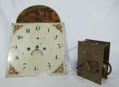 Antique 8 Day Longcase Grandfather Clock Works Movement 12 Inch Painted Dial
